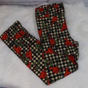 LuLaRoe Christmas red cardinal leggings OS